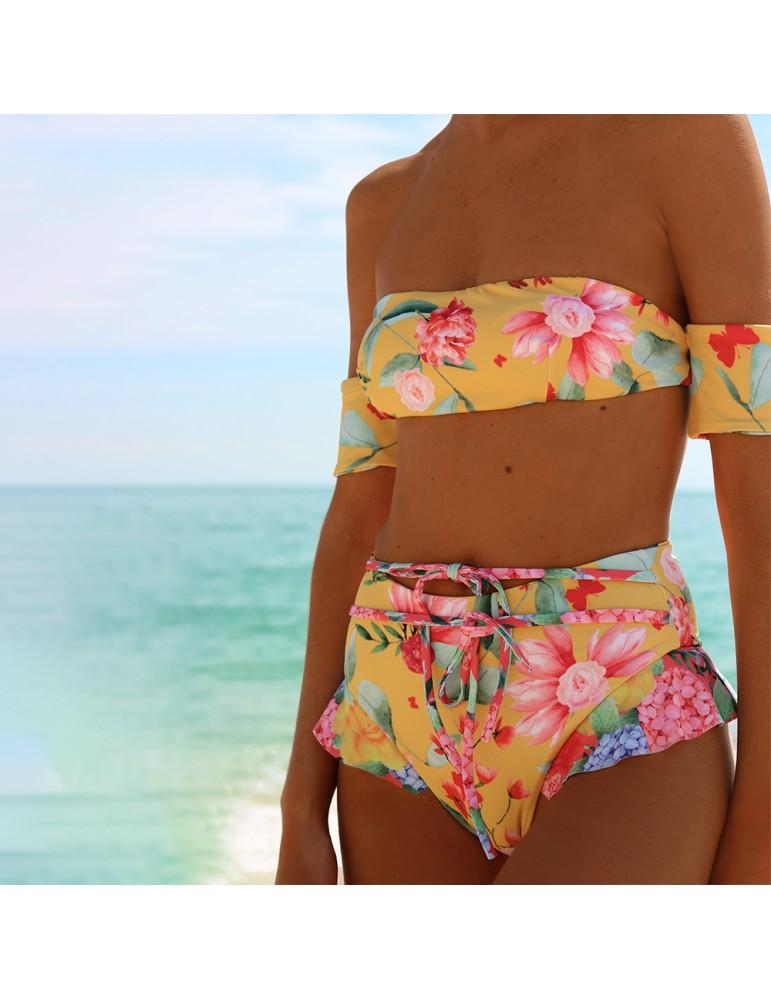 8dd39807a7886 Yellow Floral High Waist Bikini Set